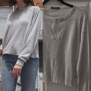 NWOT BRANDY MELVILLE GRAY ALLIE THERMAL TOP